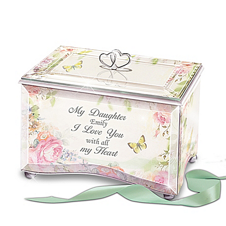 My Daughter, I Love You Personalized Glass Music Box from The Bradford Exchange Online Product Image