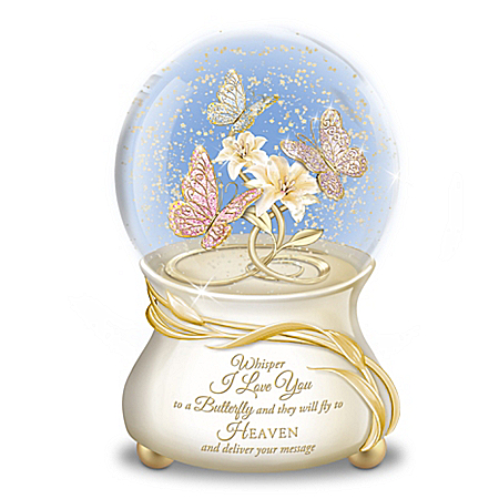 Message To Heaven Heirloom Porcelain Butterfly Musical Glitter Globe