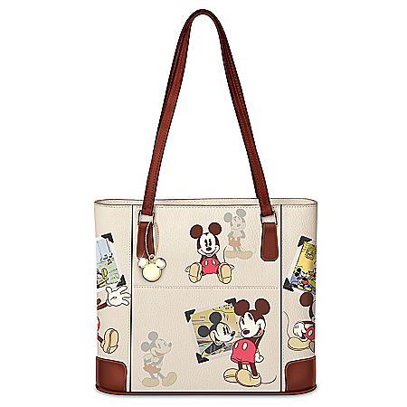Disney Retro Mickey Mouse Women's Handbag With Gold-Toned Charm