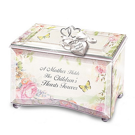 Image of A Mother's Love Personalized Beveled Glass Floral Music Box