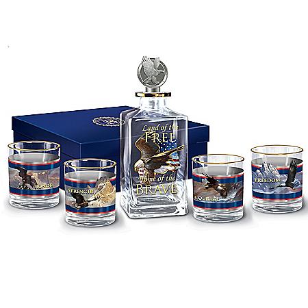 Spirit Of Freedom Patriotic Glass Decanter Set