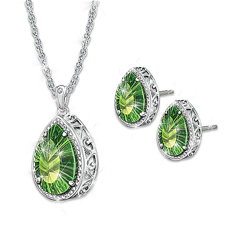 Radiant Treasure Women's Helenite & Diamond Pendant Necklace And Earrings Set