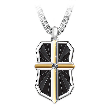 Bless My Son Men's Religious Stainless Steel Dog Tag Pendant Necklace