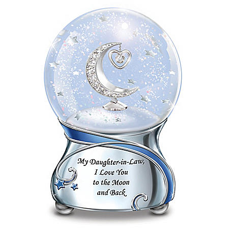 My Daughter-In-Law, I Love You To The Moon And Back Musical Glitter Globe