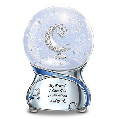 Friend, I Love You To The Moon And Back Musical Glitter Globe