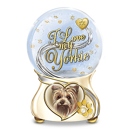 I Love My Little Dog Heirloom Porcelain Musical Glitter Globe