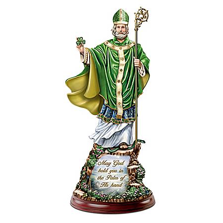 Thomas Kinkade Illuminated St. Patrick Sculpture With Irish Blessing Lights Up