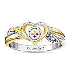 Pittsburgh Steelers Women's 18K Gold-Plated Pride Ring
