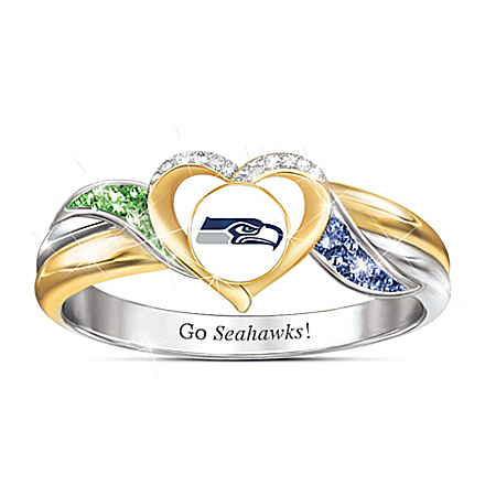 Seattle Seahawks Women's 18K Gold-Plated NFL Pride Ring