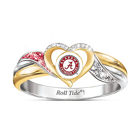 University Of Alabama Crimson Tide Women's 18K Gold-Plated Heart Ring