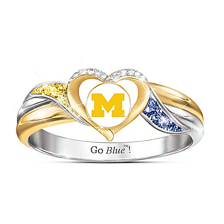 University of Michigan Wolverines Women's 18K Gold-Plated Pride Ring