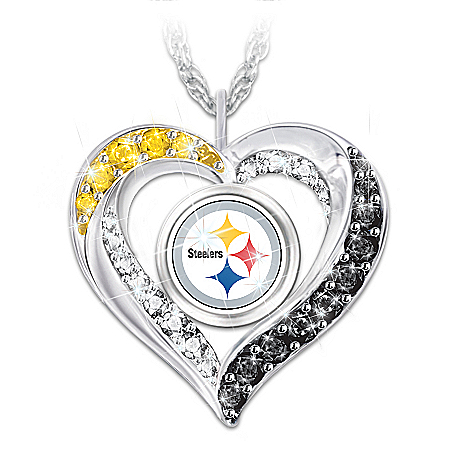 I Love My Pittsburgh Steelers Women's Heart-Shaped NFL Fan Pendant Necklace
