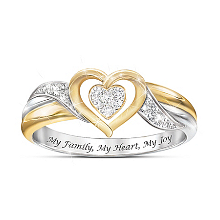 My Family, My Heart, My Joy Women's Heart-Shaped Diamond Ring