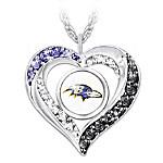 I Love My Baltimore Ravens Women's Heart-Shaped NFL Fan Pendant Necklace