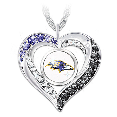 I Love My Baltimore Ravens Women's Heart-Shaped NFL Fan Pendant Necklace