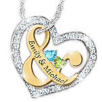 You & Me Personalized Birthstone Heart-Shaped Women's Pendant Necklace
