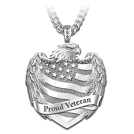 Proud Veteran Men's Stainless Steel Pendant Necklace