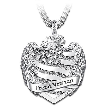 Proud Veteran Men's Stainless Steel Pendant Necklace
