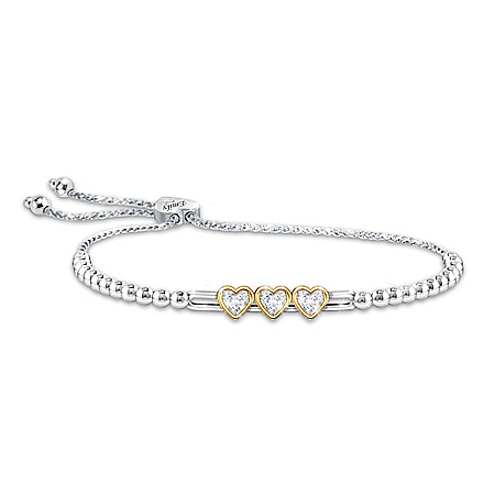 Personalized Sterling Silver-Plated Daughter Bracelet With Sliding Hearts And Swarovski Crystals & 18K Gold-Plated Accents – Per