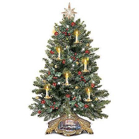 Thomas Kinkade Tabletop Christmas Tree Lights Up with Flameless Candles and LEDs