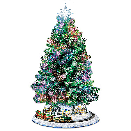 Thomas Kinkade Fiber Optic Tabletop Tree Lights Up with Music and Rotating Train