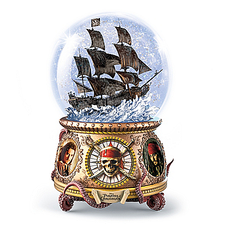 Disney Pirates Of The Caribbean Musical Glitter Globe