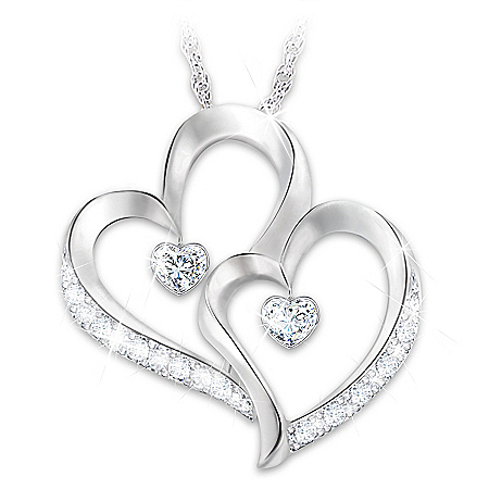 Forever Loved Daughter Heart-Shaped Diamond Pendant Necklace