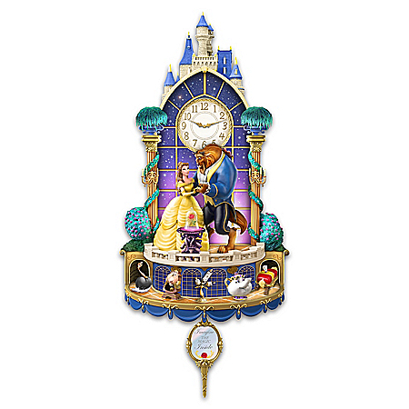Disney Beauty And The Beast Happily Ever After Illuminated Hand-Sculpted Wall Clock