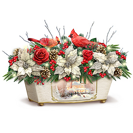 Thomas Kinkade Christmas Floral Centerpiece with Sculpted Cardinals Lights Up