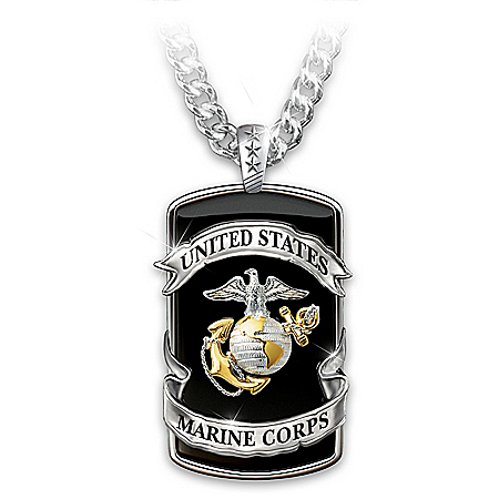 Marine Corps Pride Men's Dog Tag Pendant Necklace