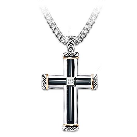 God Is My Strength Men's Religious Diamond Cross Pendant Necklace