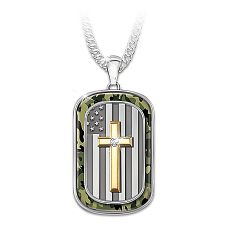 My Country My Faith Men's Religious And Patriotic Dog Tag Pendant Necklace