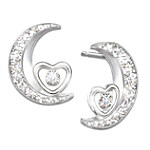 I Love You To The Moon And Back Daughter Sterling Silver Diamond Earrings