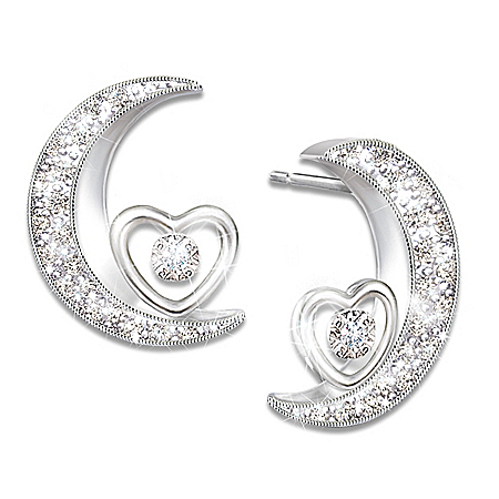 Daughter Crescent Moon Shaped Diamond Earrings with Poem Card: Bradford Exchange