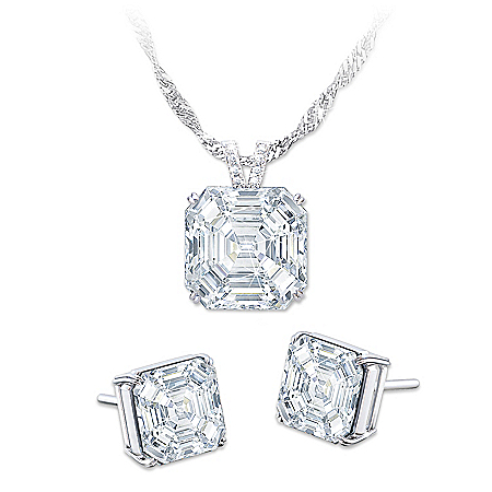 Hollywood Royalty Diamonesk Pendant Necklace And Earrings Set