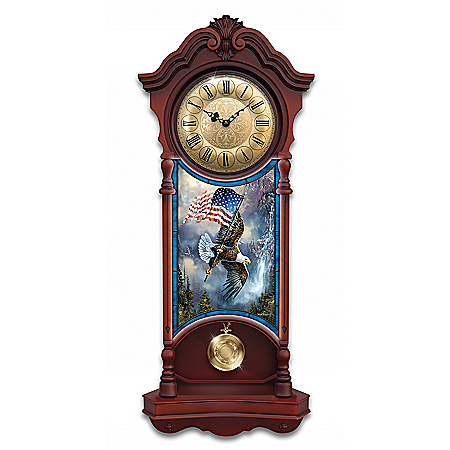 American Spirit Illuminated Stained-Glass Patriotic Wall Clock
