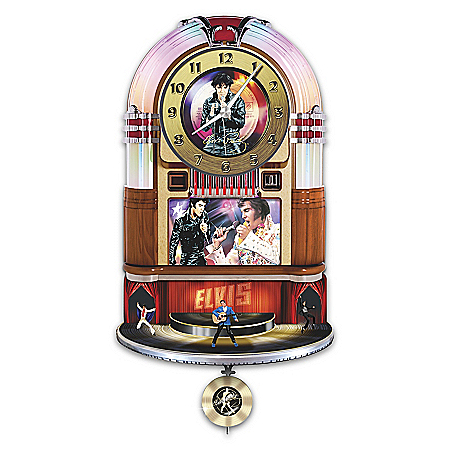 Elvis Presley Rock 'N' Roll Illuminated Juke Box Wall Clock