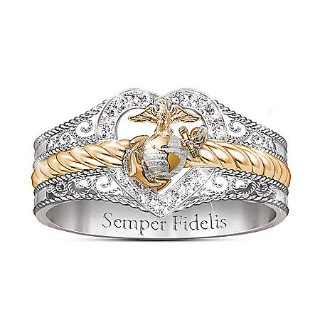 Forever Faithful Women's Marine Corps Diamond Ring