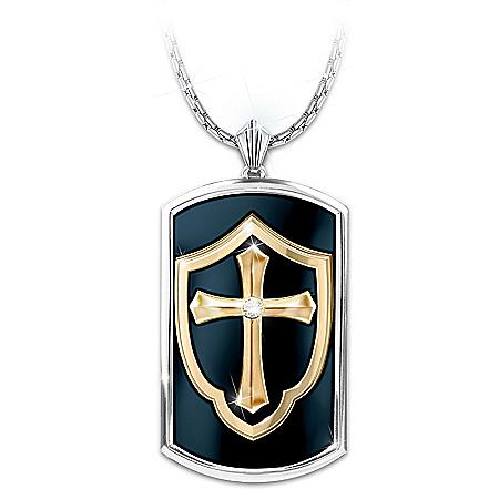 Shield Of Faith Men's Religious Dog Tag Pendant Necklace