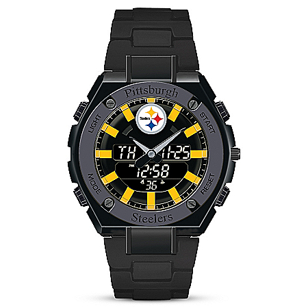 NFL Licensed Pittsburgh Steelers Analog and Digital Stainless Steel Men's Watch
