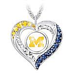 I Love My University Of Michigan Wolverines Women's Heart-Shaped Fan Pendant Necklace