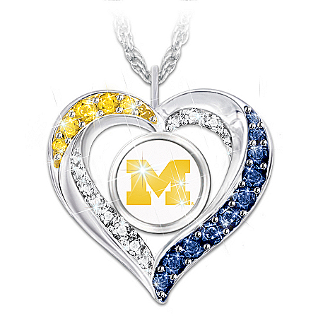 Officially Licensed Michigan Wolverines Heart Shaped Pendant Necklace