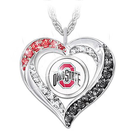 I Love My Ohio State Buckeyes Women's Heart-Shaped Fan Pendant Necklace
