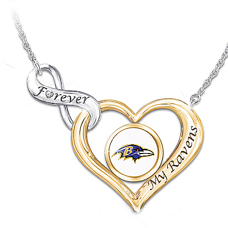 Forever My Baltimore Ravens Women's NFL Heart-Shaped Diamond Necklace