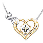 Forever My New Orleans Saints Women's NFL Heart-Shaped Diamond Necklace