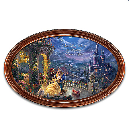 Disney Beauty and the Beast Thomas Kinkade Collector Plate with Your 2 Names