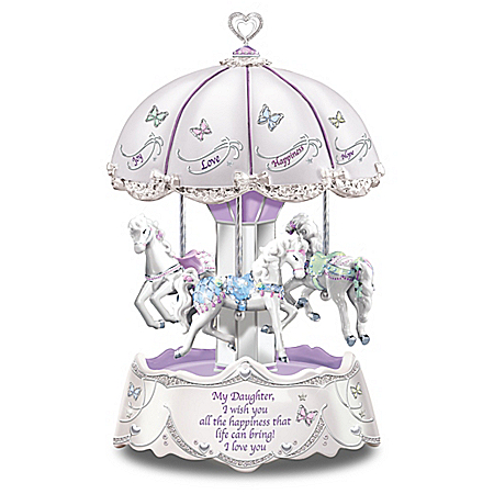 Daughter, I Wish You Heartfelt Wishes Illuminated Carousel Music Box