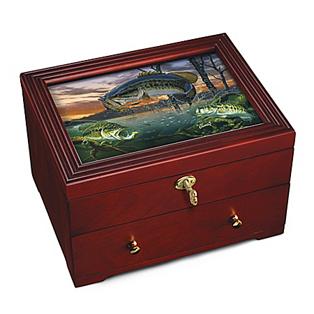 Freshwater Legend Fishing Tribute Custom-Crafted Wooden Strongbox