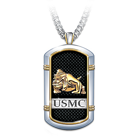 Strength Of The USMC Men's Stainless Steel Dog Tag Pendant Necklace