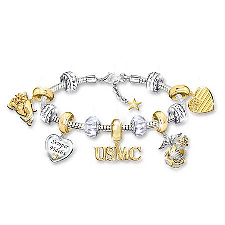 Pride Of USMC Women's Sterling Silver-Plated Charm Bracelet